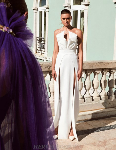 Herve Leger White Strapless Draped Detail Gown