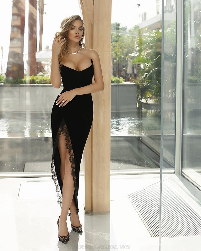 Herve Leger Black Strapless Lace Gown