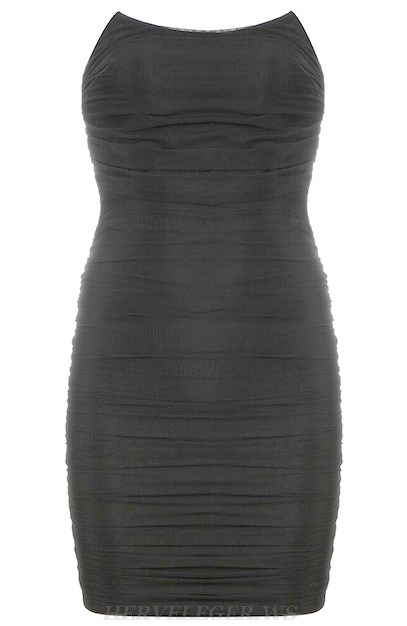 Herve Leger Black Strapless Ruched Dress