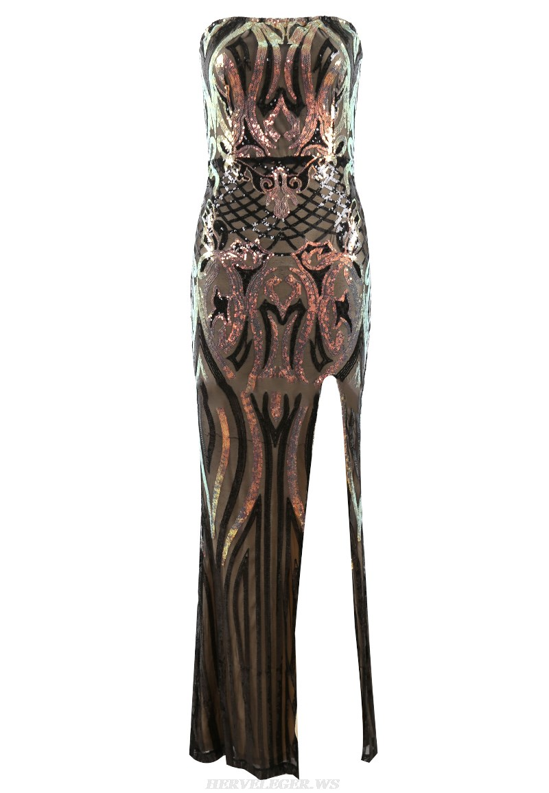 Herve Leger Strapless Sequin Gown
