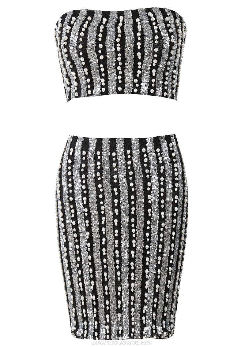 Herve Leger Black And Silver Strapless Sequin Two Piece Dress