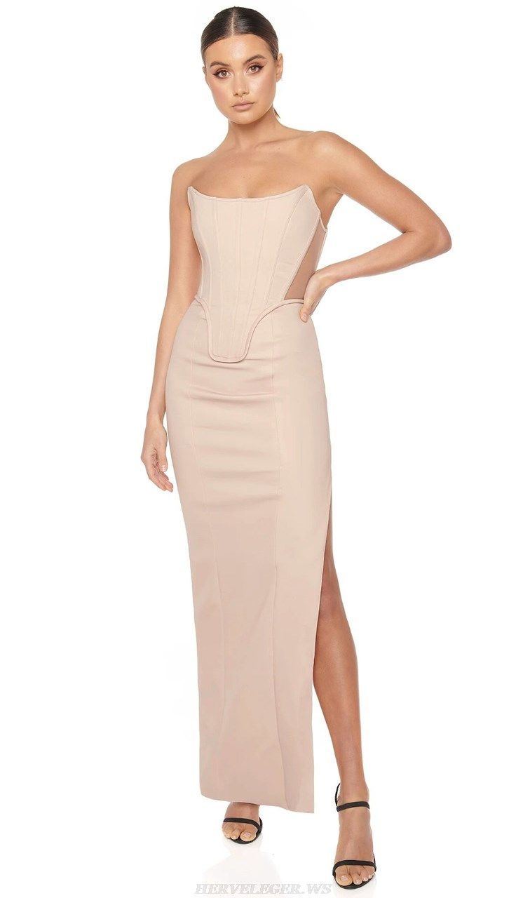 Herve Leger Nude Strapless Structured Gown