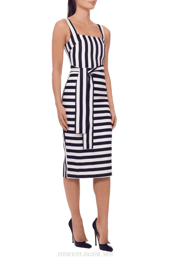 Herve Leger Black And White Striped Dress