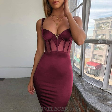 Herve Leger Burgundy Structured Mesh Dress