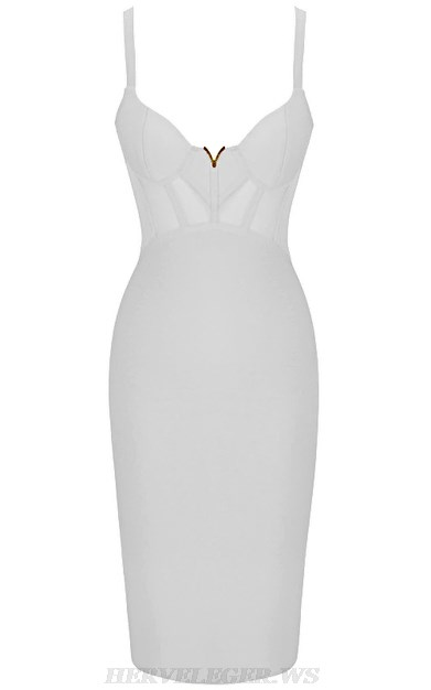 Herve Leger White Structured Mesh Dress