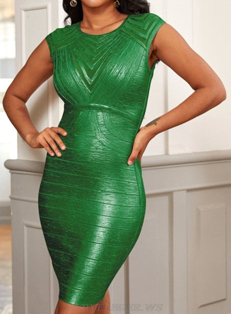 Herve Leger Green Woodgrain Foil Print Structured Dress