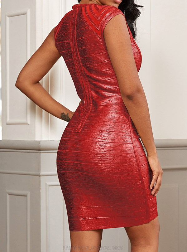 Herve Leger Red Woodgrain Foil Print Structured Dress