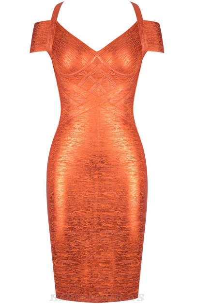 Herve Leger Orange Bardot Woodgrain Foil Print Dress