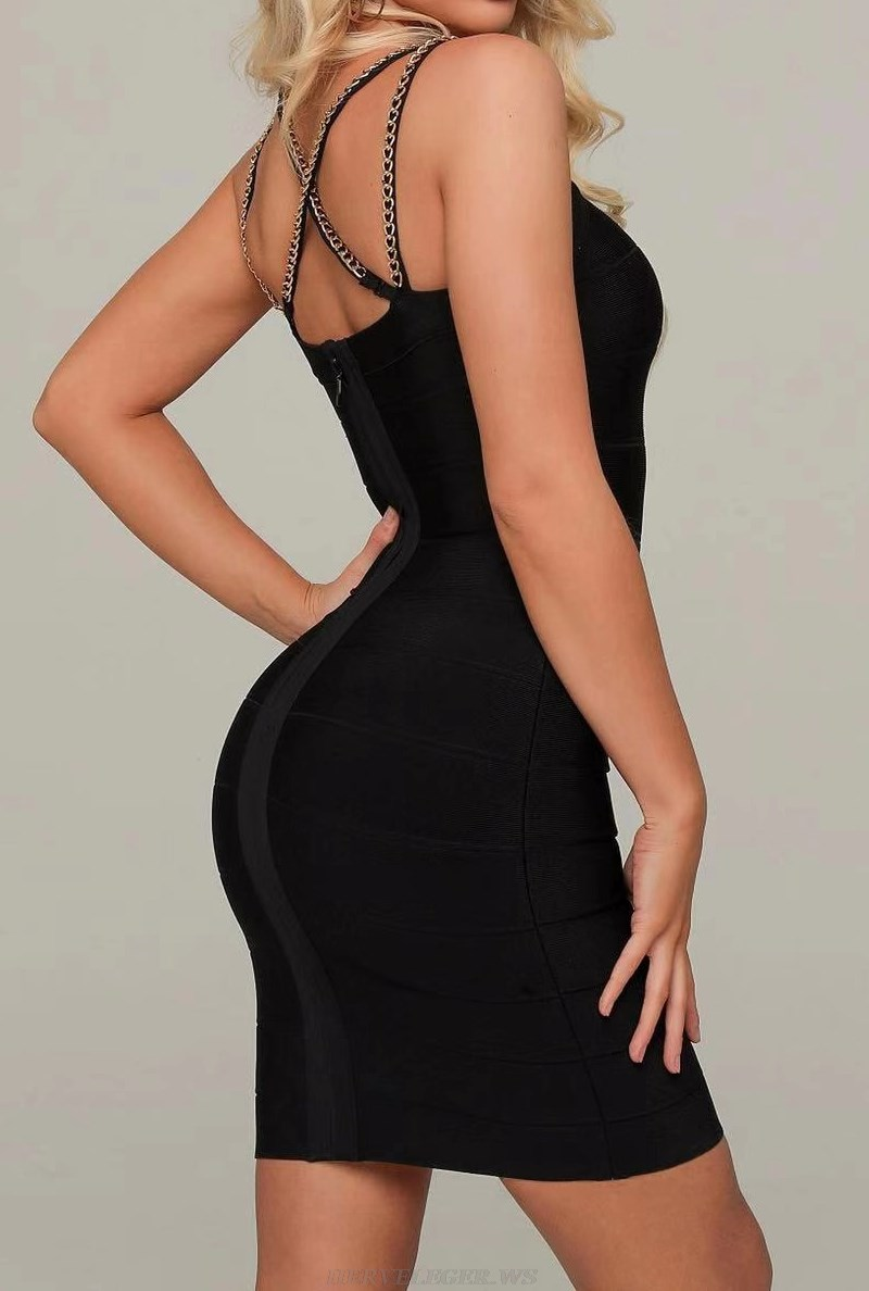 Herve Leger Black Chain Detail Strappy Dress