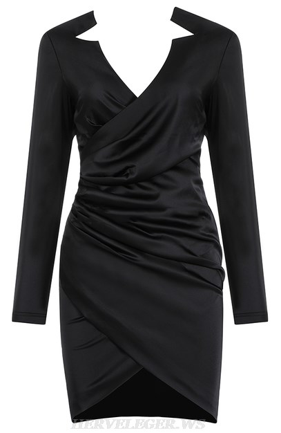 Herve Leger Black Long Sleeve Cross Over Ruched Satined Dress
