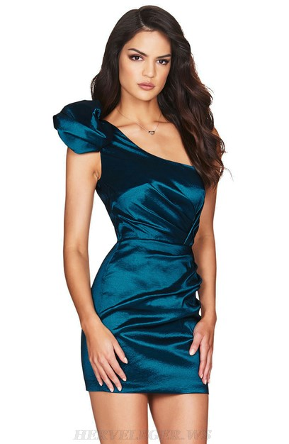 Herve Leger Blue One Shoulder Satined Dress