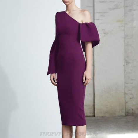 Herve Leger Purple One Sleeve Frill Dress