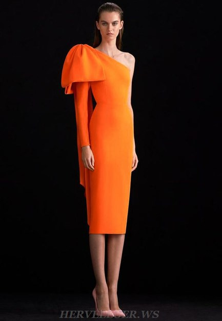Herve Leger Orange One Sleeve Dress