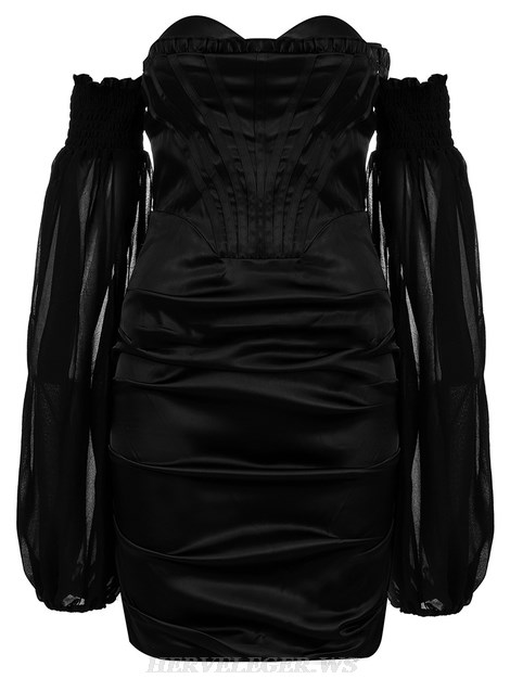 Herve Leger Black Puff Sleeve Bardot Satined Strapless Dress