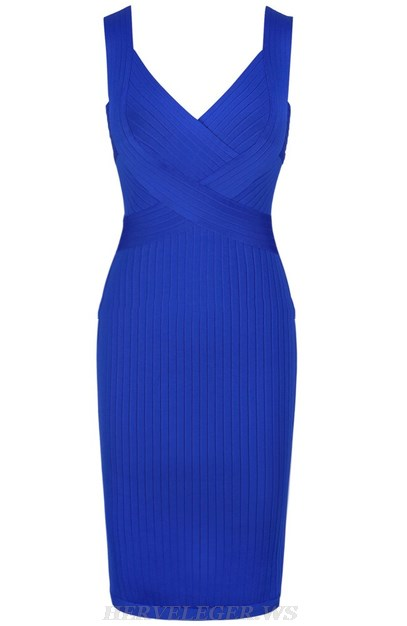 Herve Leger Blue Ribbed Dress