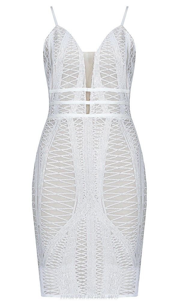 Herve Leger White Nude Sequin Dress