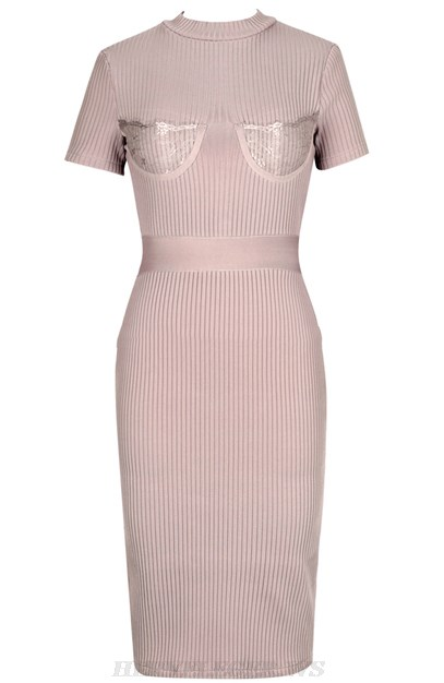 Herve Leger Nude Short Sleeve Lace Ribbed Dress