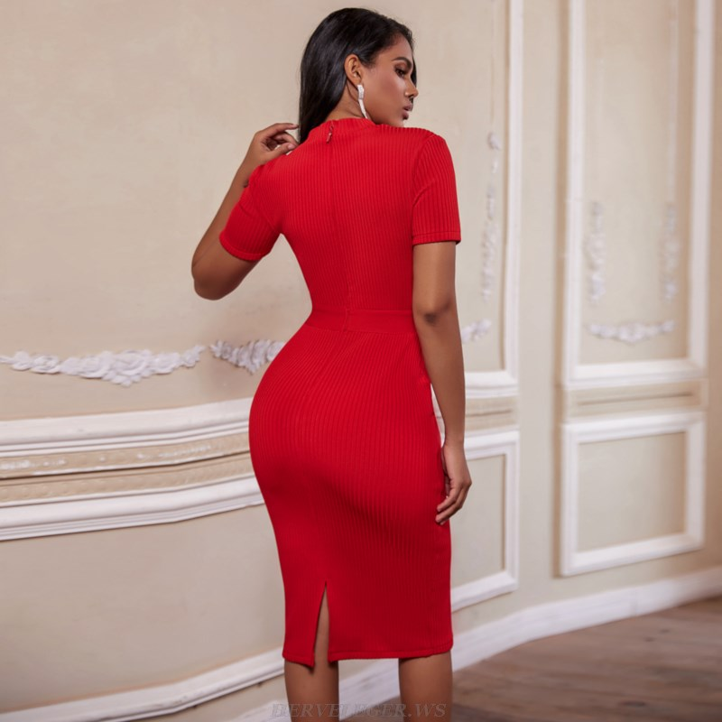 Herve Leger Red Short Sleeve Lace Ribbed Dress