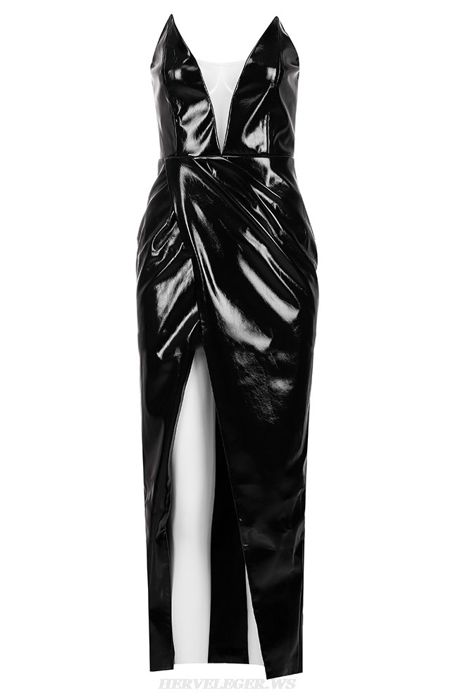 Herve Leger Black Strapless Faux Leather Stars Gown