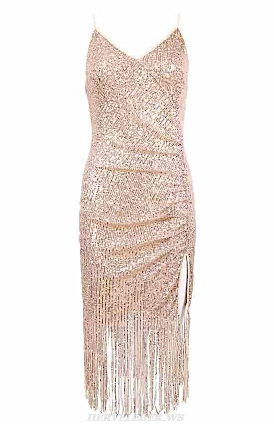 Herve Leger Gold Tassel Sequin Dress
