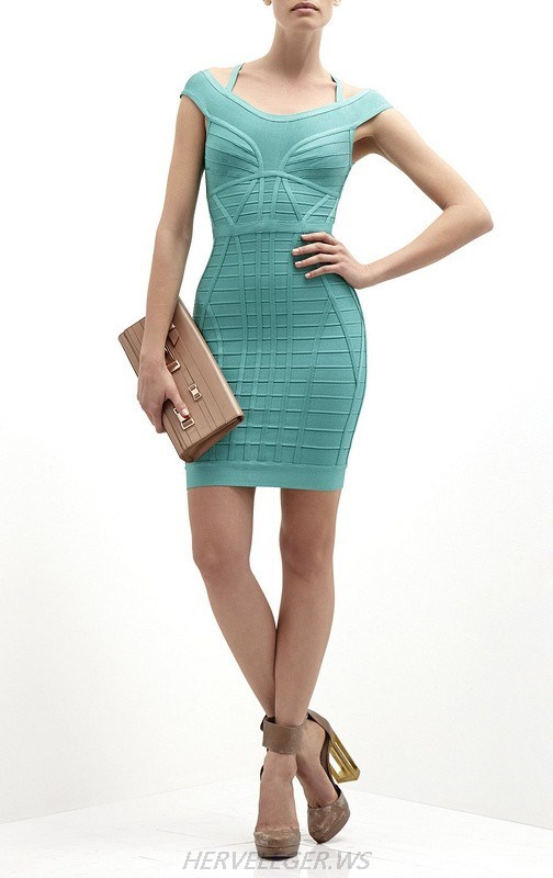 HERVE LEGE GREEN HALTER NECK DRESS