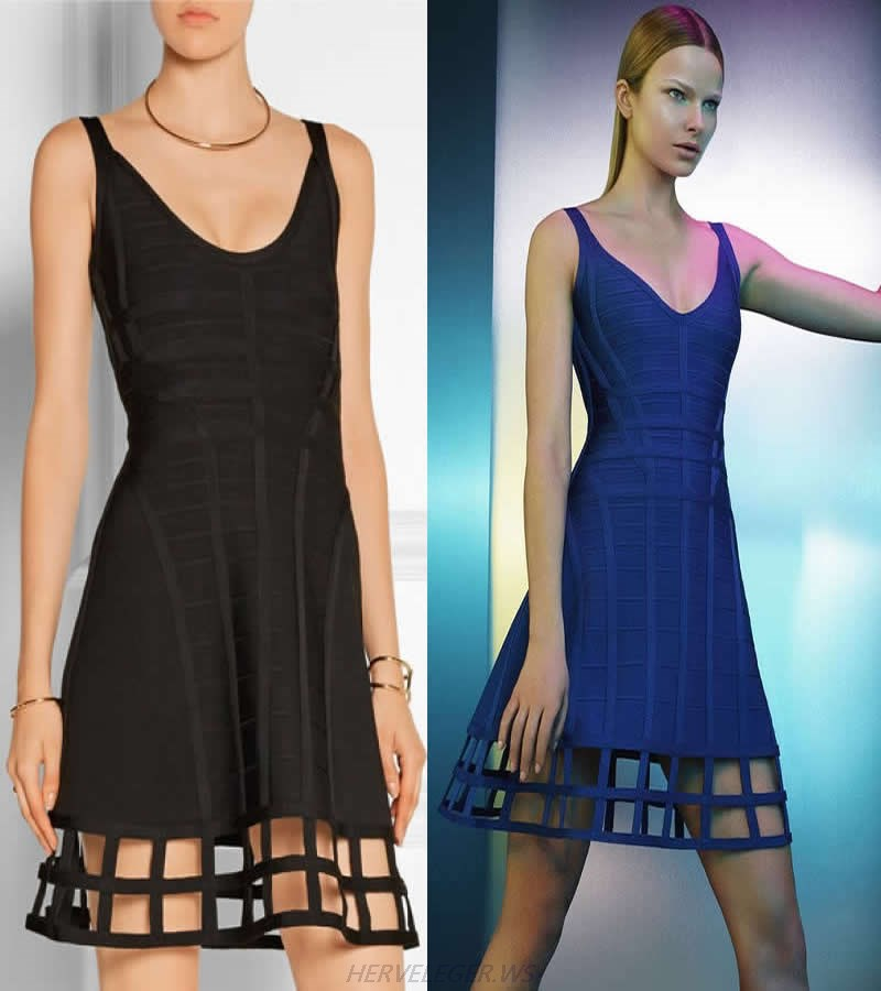 HERVE LEGER BLACK AND BLUE MULTICOLOR A LINE GRID HOLLOW OUT DRESS