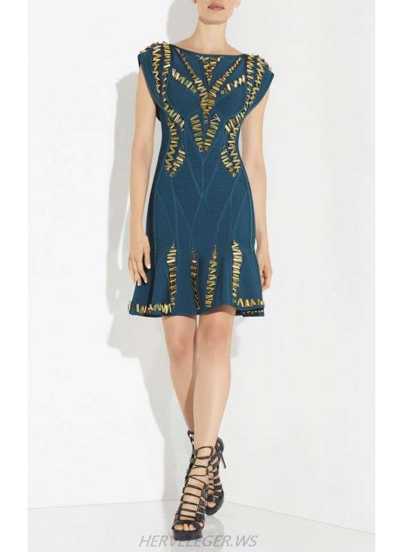 HERVE LEGER BLUE AND GOLD BEADED FLOUNCE DRESS