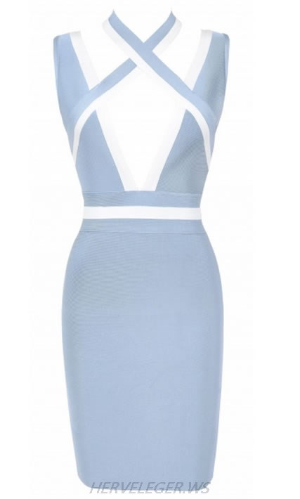 HERVE LEGER BLUE GREY AND WHITE COLORBLOCK V NECK DRESS