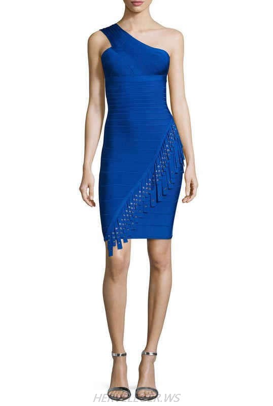HERVE LEGER BLUE ONE SHOULDER FRINGE DRESS