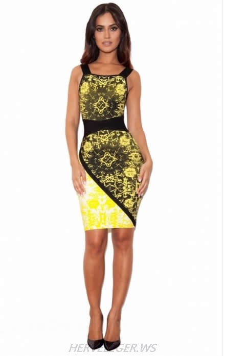 HERVE LEGER YELLOW ART PRINTING DRESS