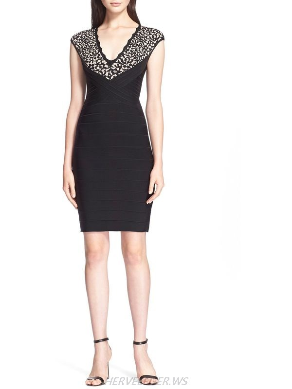 HERVE LEGER BLACK AND WHITE V NECK LACE JACQUARD DRESS