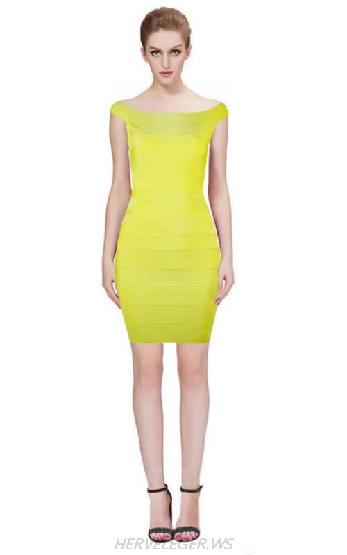HERVE LEGER YELLOW BOAT NECK DRESS