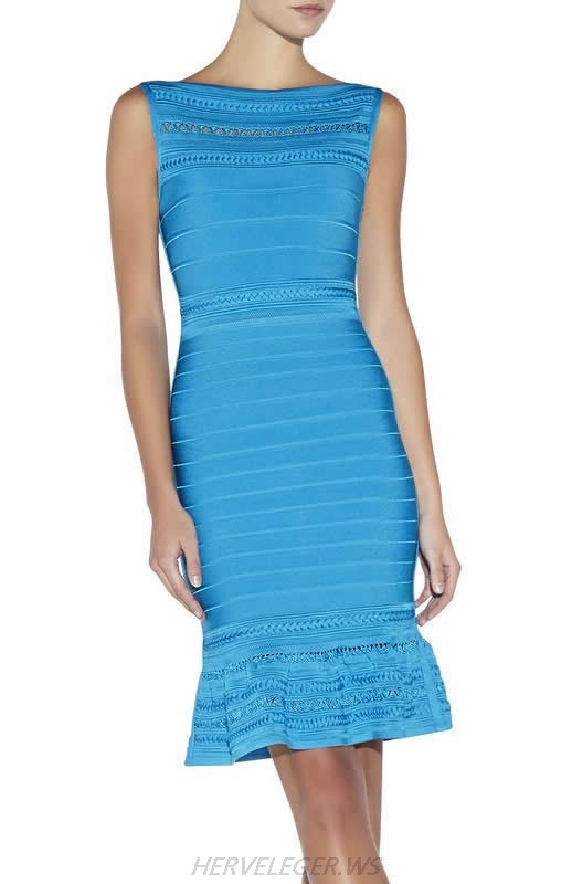 HERVE LEGER BLUE PURPLE AND PINK MULTI COLOR BOAT NECK EMBROIDERED DRESS