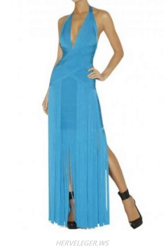 HERVE LEGER BLUE FRINGED V NECK HALTER GOWN