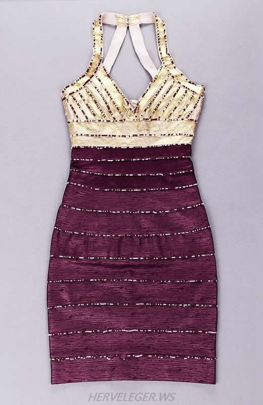 HERVE LEGER GOLD AND PURPLE COLOR BLOCK HAND BEADED BANDAGE DRESS