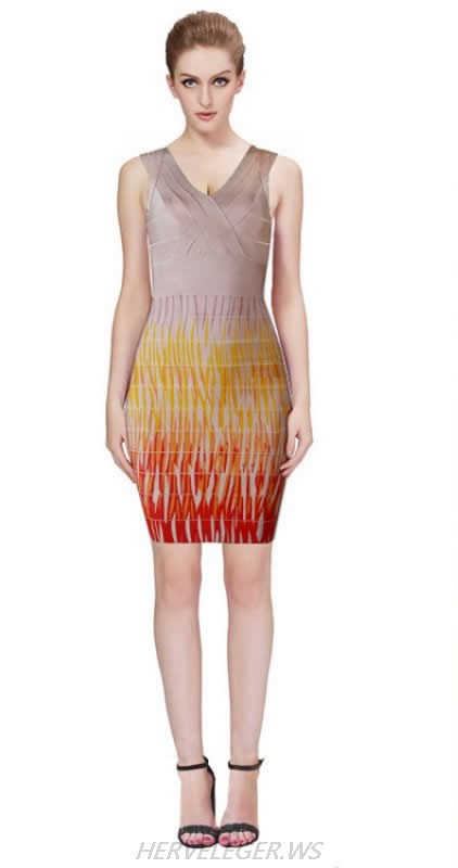 HERVE LEGER FLAME PATTERN V NECK DRESS