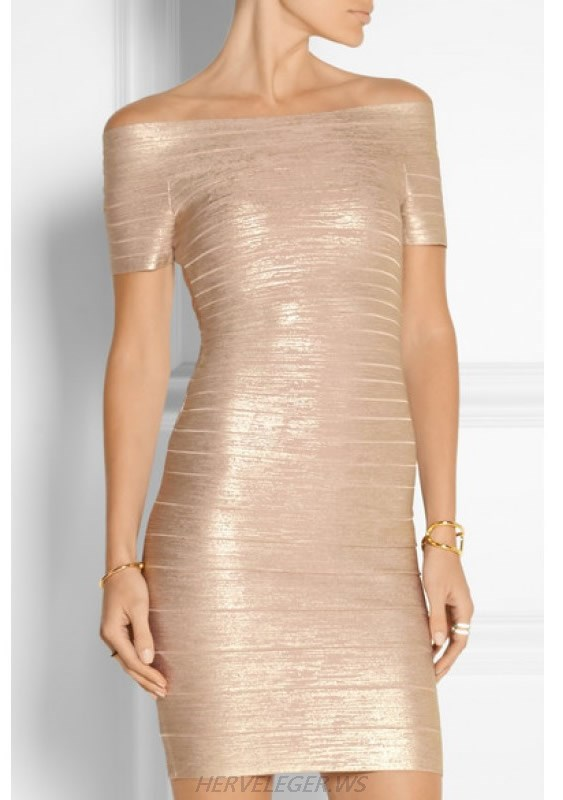 HERVE LEGER GOLDEN WOODGRAIN FOIL HALTER BANDAGE DRESS