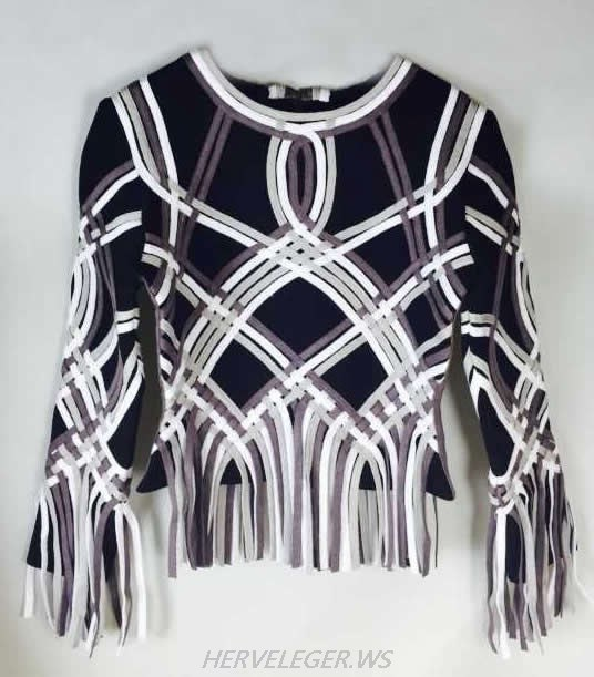 HERVE LEGER BLACK AND WHITE KAYDAN SIGNATURE JACKET