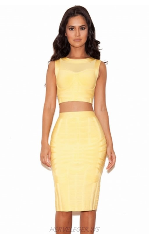 HERVE LEGER YELLOW MESH TWO PIECE DRESS
