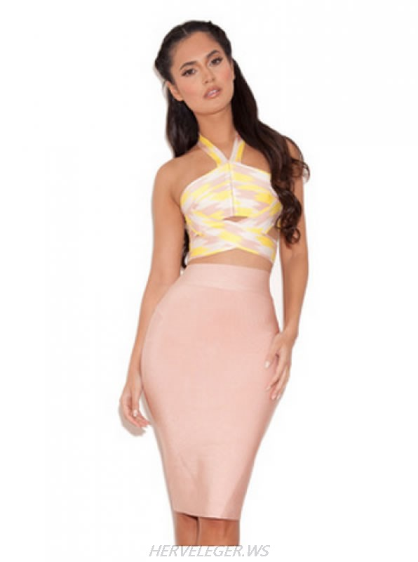 HERVE LEGER NUDE AND YELLOW CUT OUT TWO PIECE DRESS