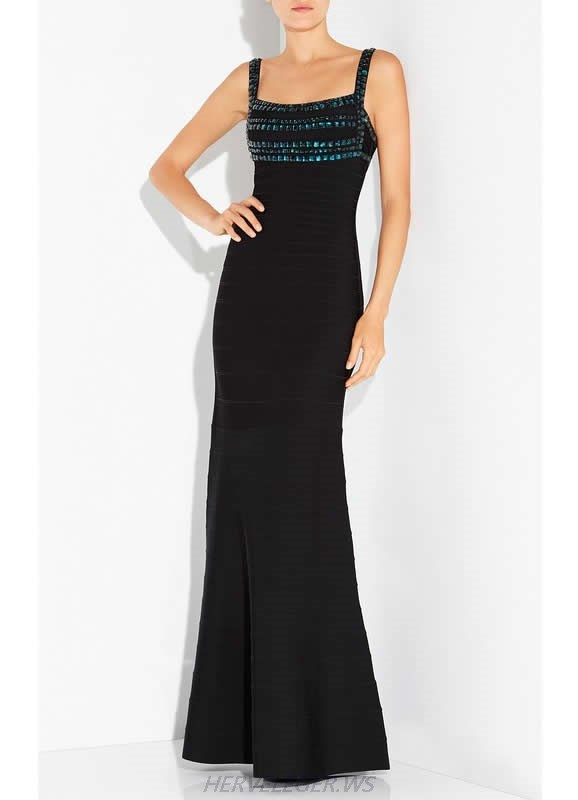 HERVE LEGER BLACK SEQUIN AND BEADED GOWN