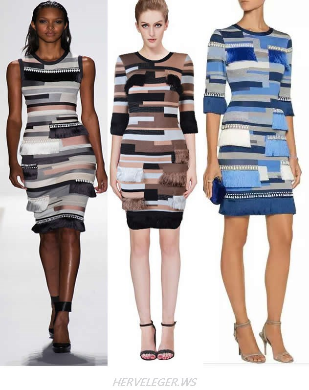 HERVE LEGER COLORBLOCK LUXURY JACQUARD BANDAGE DRESS