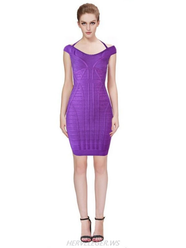 HERVE LEGER NEW FASHION PURPLE HALTER V NECK DRESS