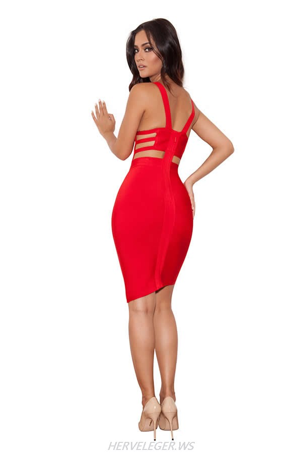 HERVE LEGER RED AND BLACK MULTI COLOR DEEP V NECK BACKLESS DRESS