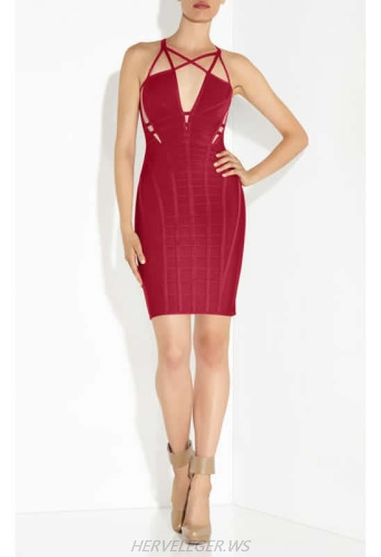 HERVE LEGER RED V NECK CUTOUT BANDAGE DRESS