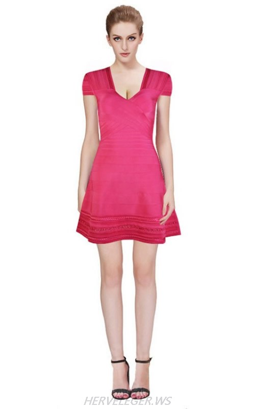 HERVE LEGER RED A LINE SHORT SLEEVE BANDAGE DRESS