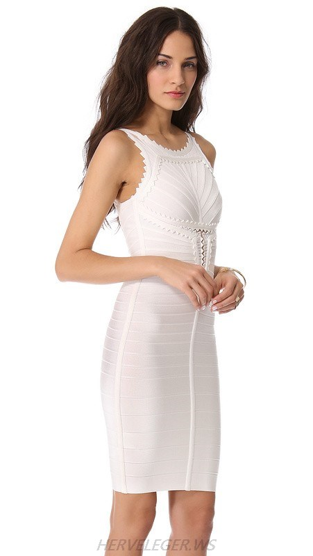 HERVE LEGER WHITE ROUND NECK SLEEVELESS DRESS