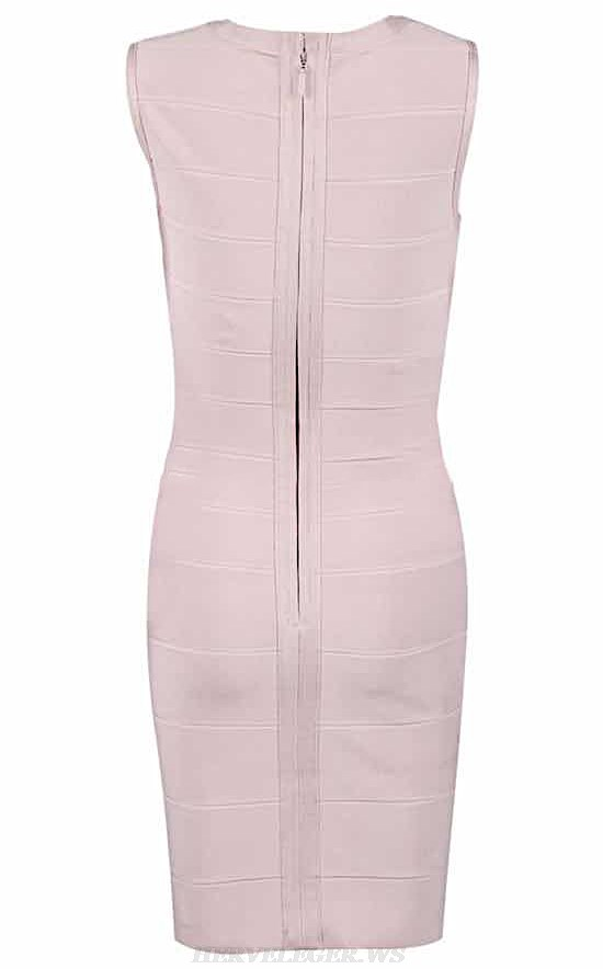 Herve Leger Nude Pink Asymmetric Dress