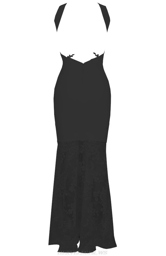 Herve Leger Black Backless Lace Gown