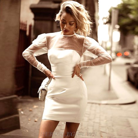 Herve Leger White Embellished Mesh Puff Sleeve Dress